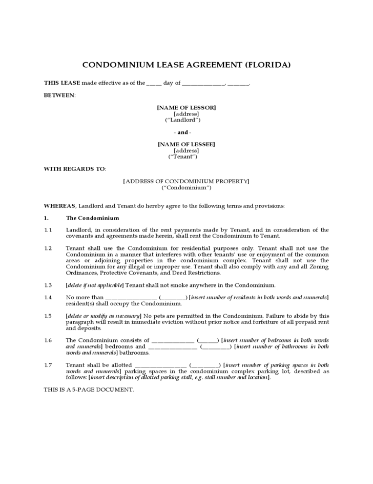 Condominium Lease Agreement Florida Free Download