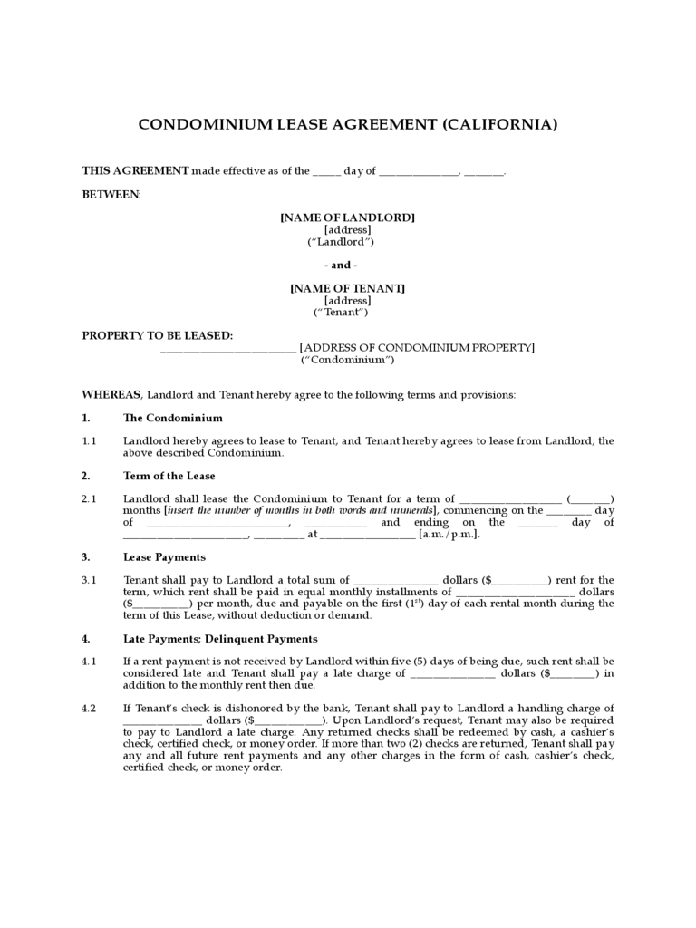 Condominium Lease Agreement - California