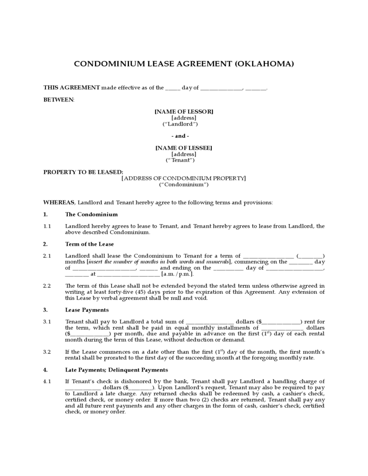 Condominium Lease Agreement Oklahoma Free Download