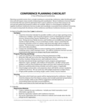 Conference Planning Checklist - Rhode Island Free Download