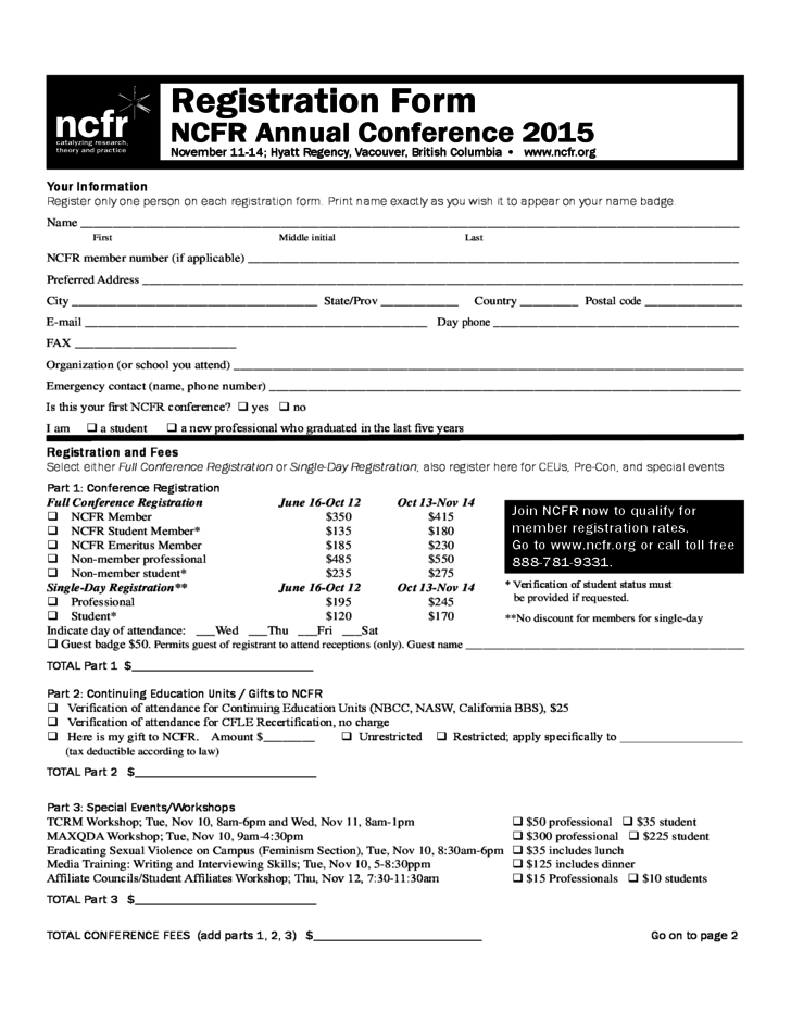 Registration Form NCFR Annual Conference 2015 Free Download