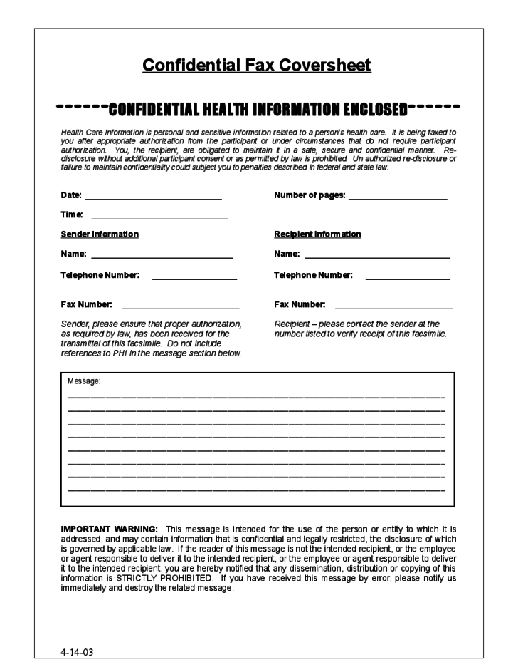 confidential fax cover sheet sample free download