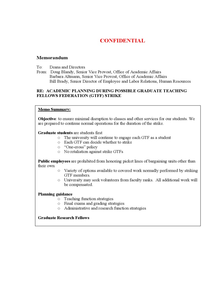 Confidential Memorandum Template