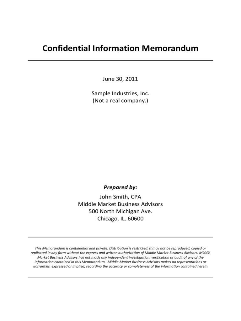 Confidential Information Memorandum