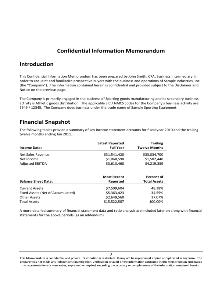 confidential information memorandum free download