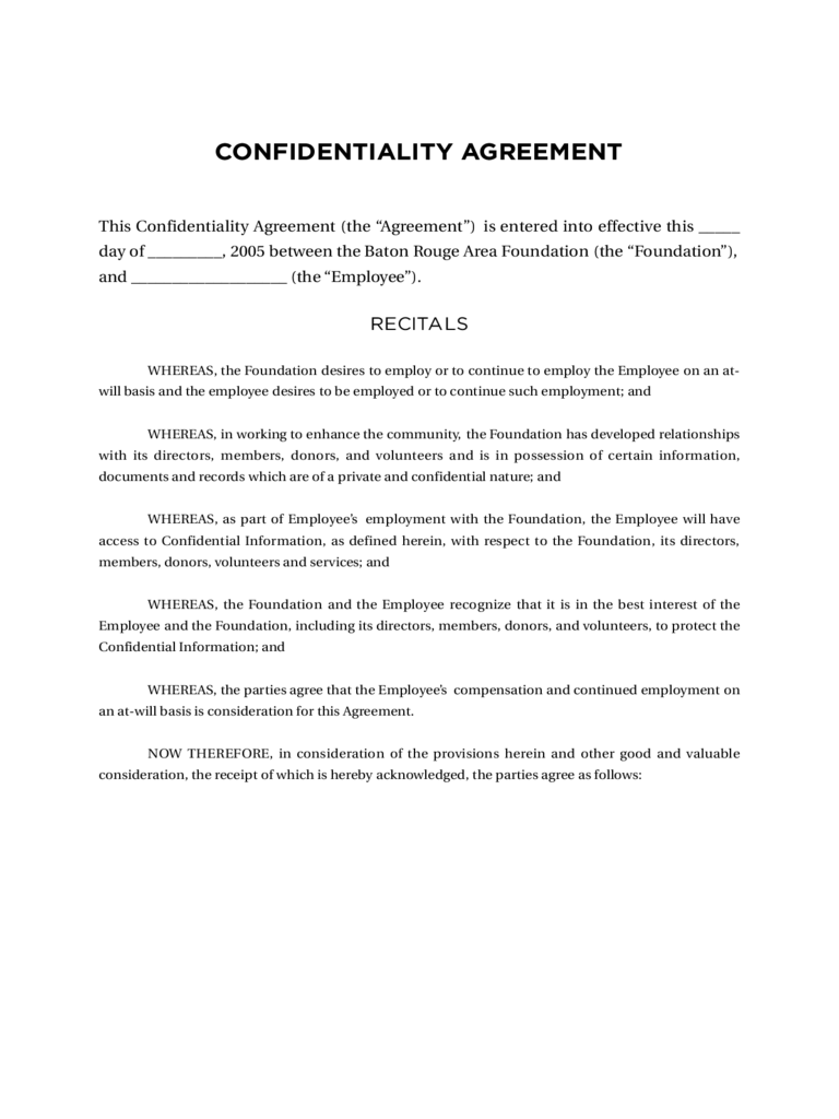 Confidentiality Agreement Template 11 Free Templates In