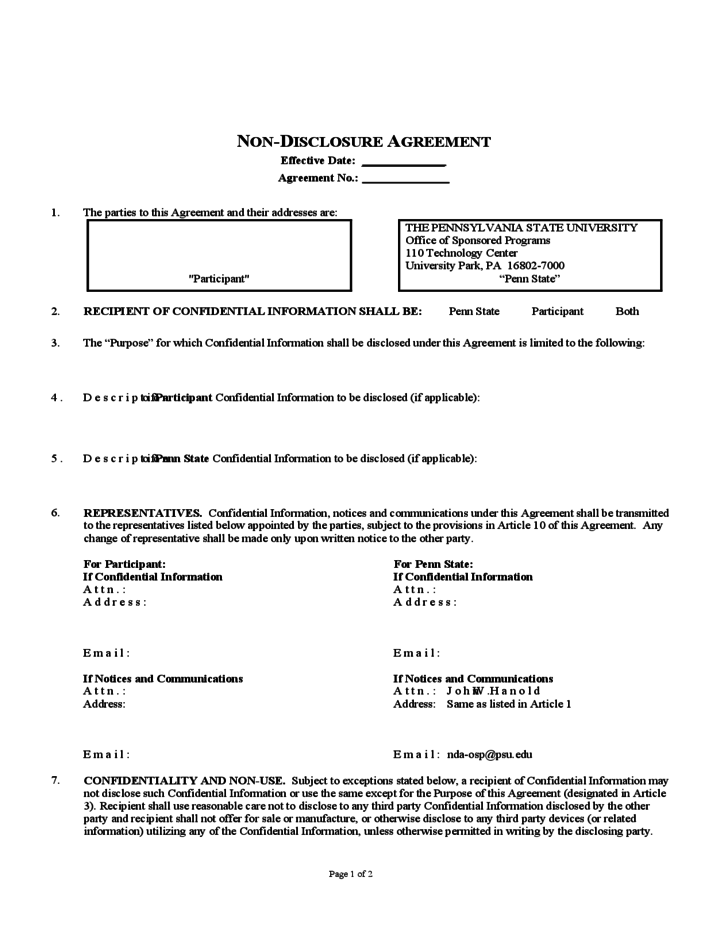 Non disclosure agreement pennsylvania free download for Secrecy agreement template
