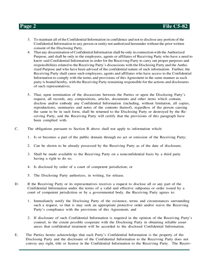 Sample Mutual Confidentiality Agreement Free Download