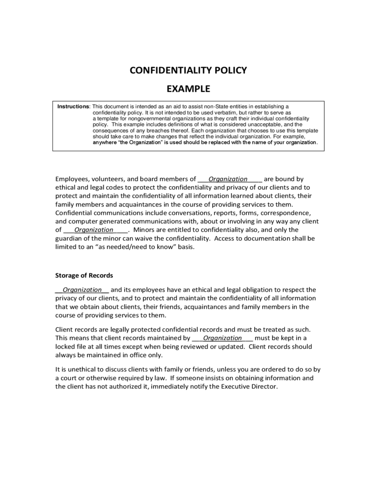 Confidentiality Policy Example
