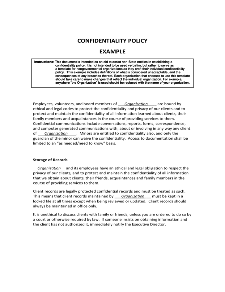 Confidentiality policy example free download for Confidentiality policy template