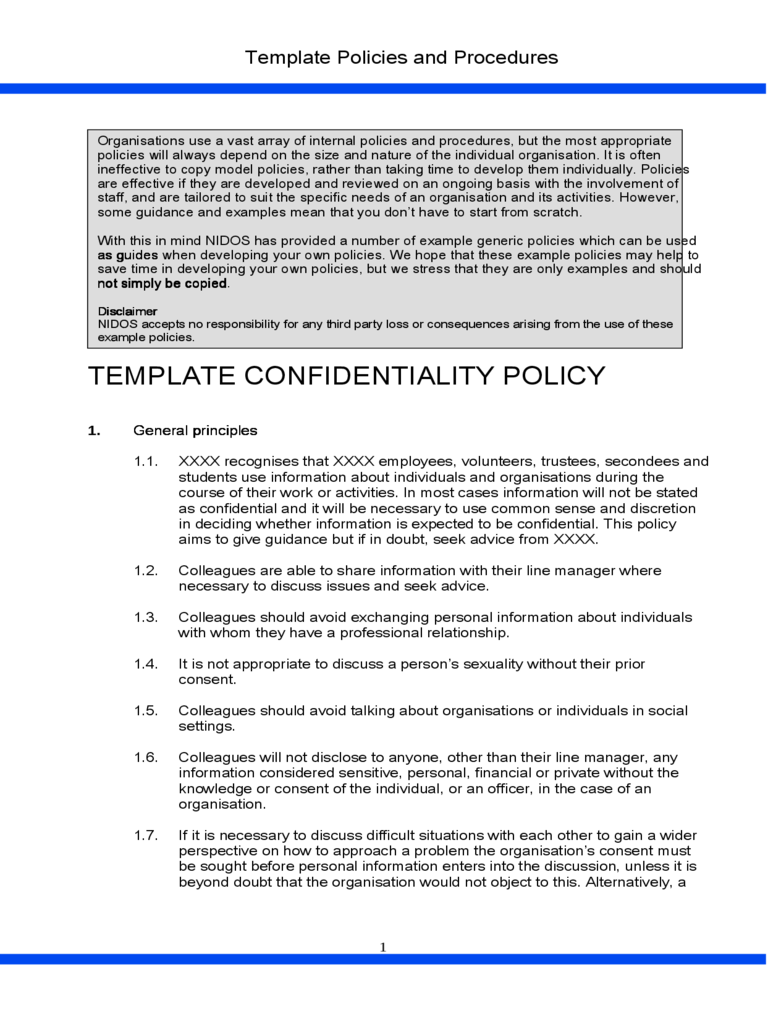 Template Confidentiality Policy
