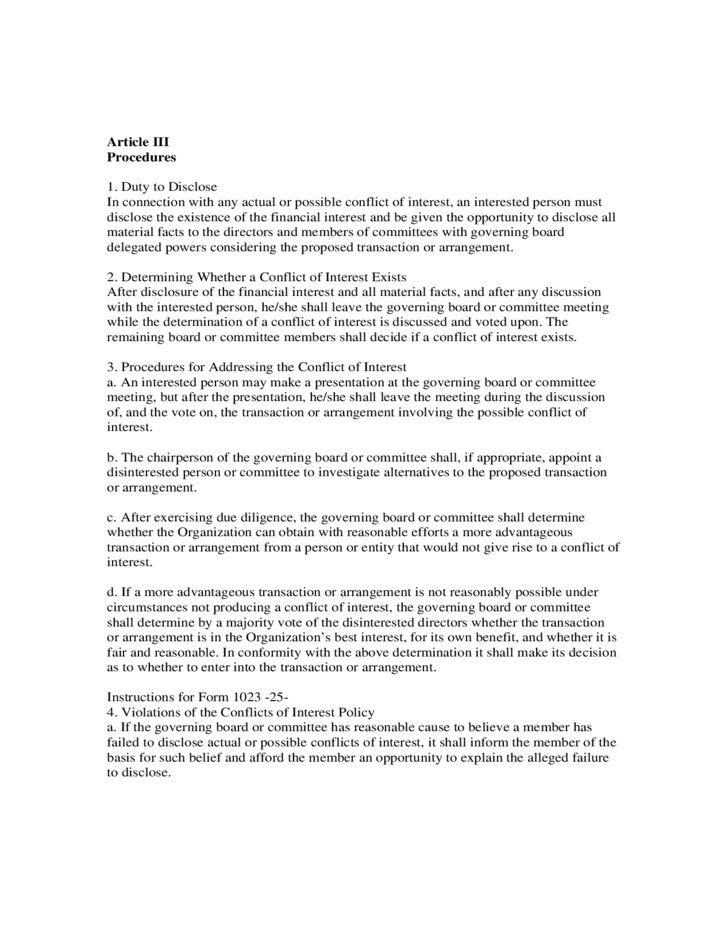 Sample Conflict Of Interest Policy Free Download