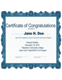 Sample Certificate of Congratulations Free Download