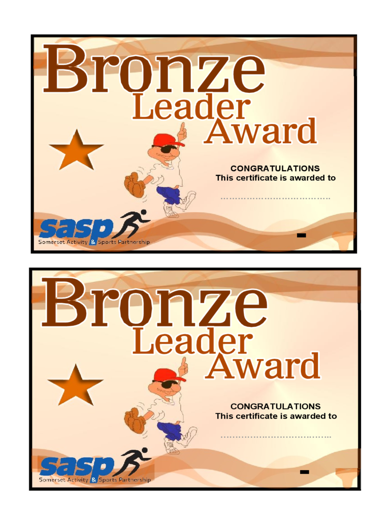 Congratulations Certificate for Bronze Leader Award