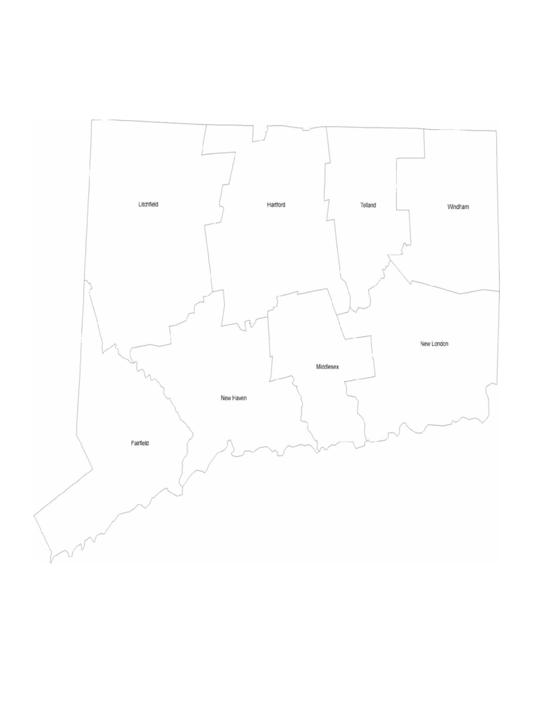 Connecticut County Map with County Names