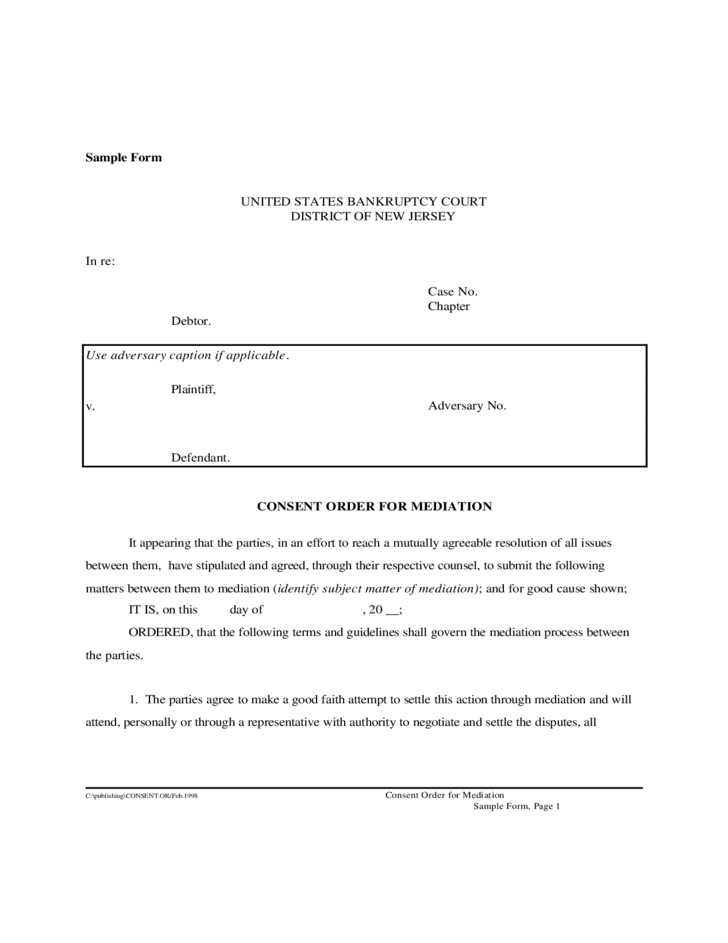 Consent Order for Mediation New Jersey Free Download – Consent Order Form