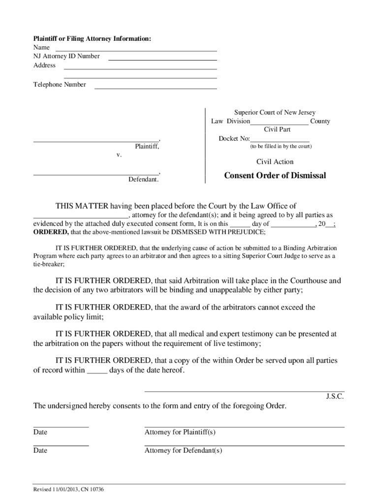Consent Order of Dismissal - New Jersey