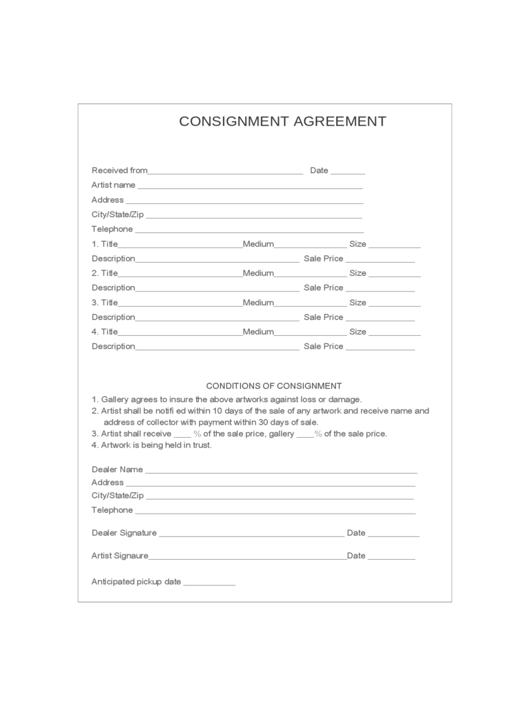 Consignment Agreement Form. Consignment Agreement  Free Consignment Contract Template