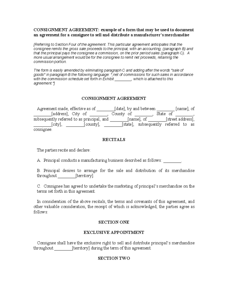 Consignment Agreement Recitals Free Download