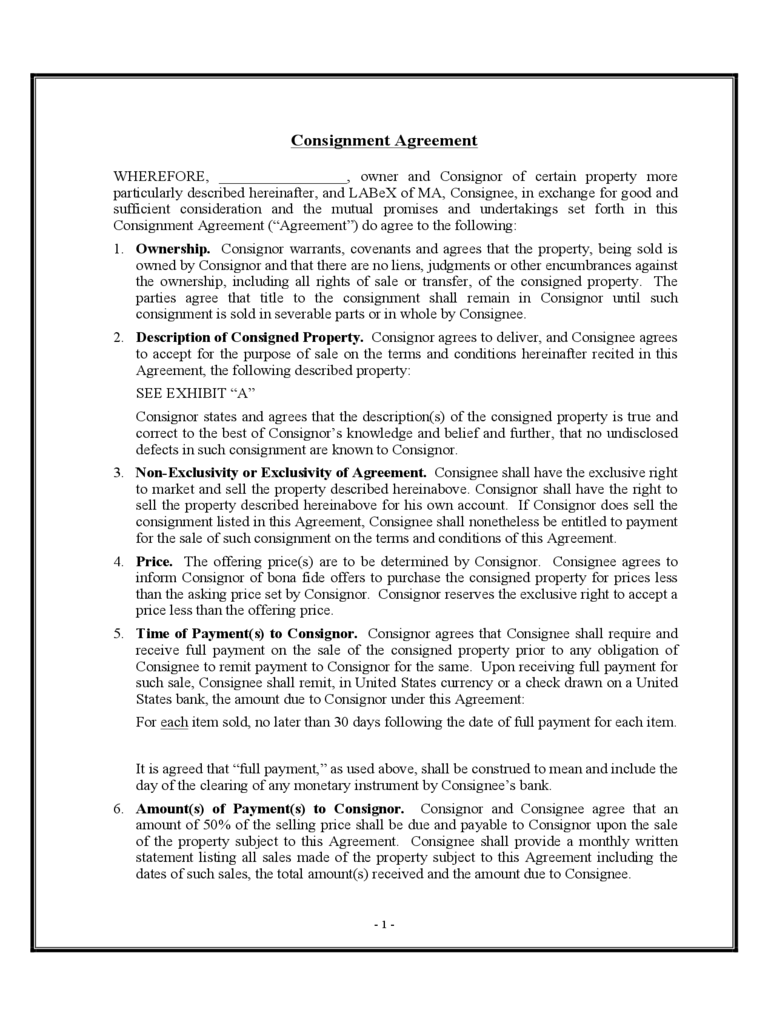 Consignment Agreement Sample Form  Consignment Contracts Template