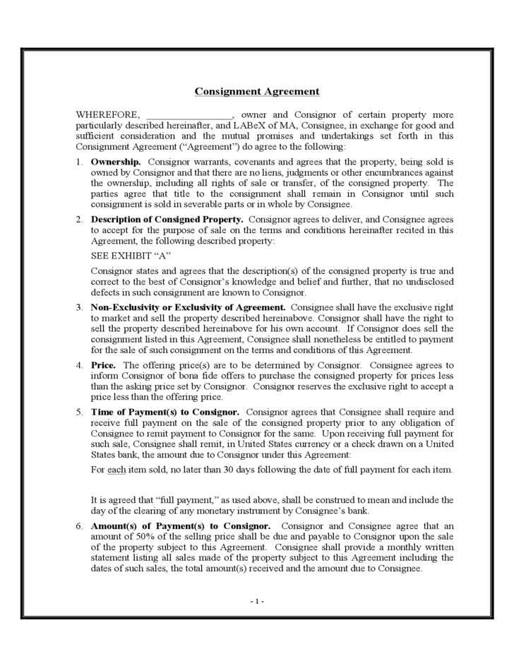 Consignment Agreement Sample  Free Consignment Agreement