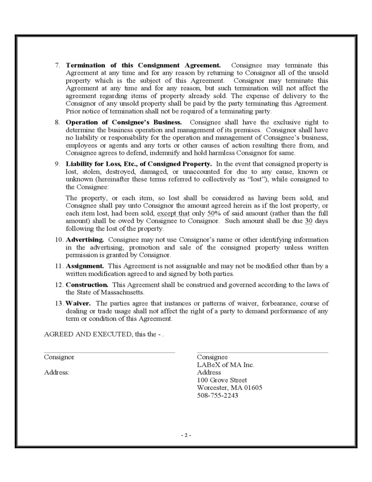 2 Consignment Agreement Sample Form  Consignment Contracts Template