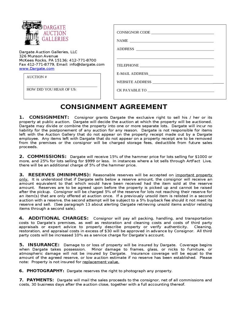 CONSIGNMENT AGREEMENT   Dargate Auction Galleries  Consignment Forms Template
