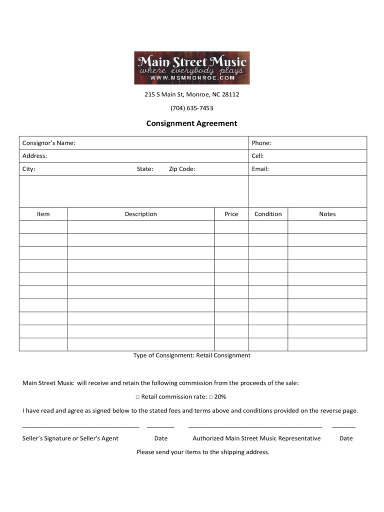 Consignment Agreement   Main Street Music  Free Consignment Agreement
