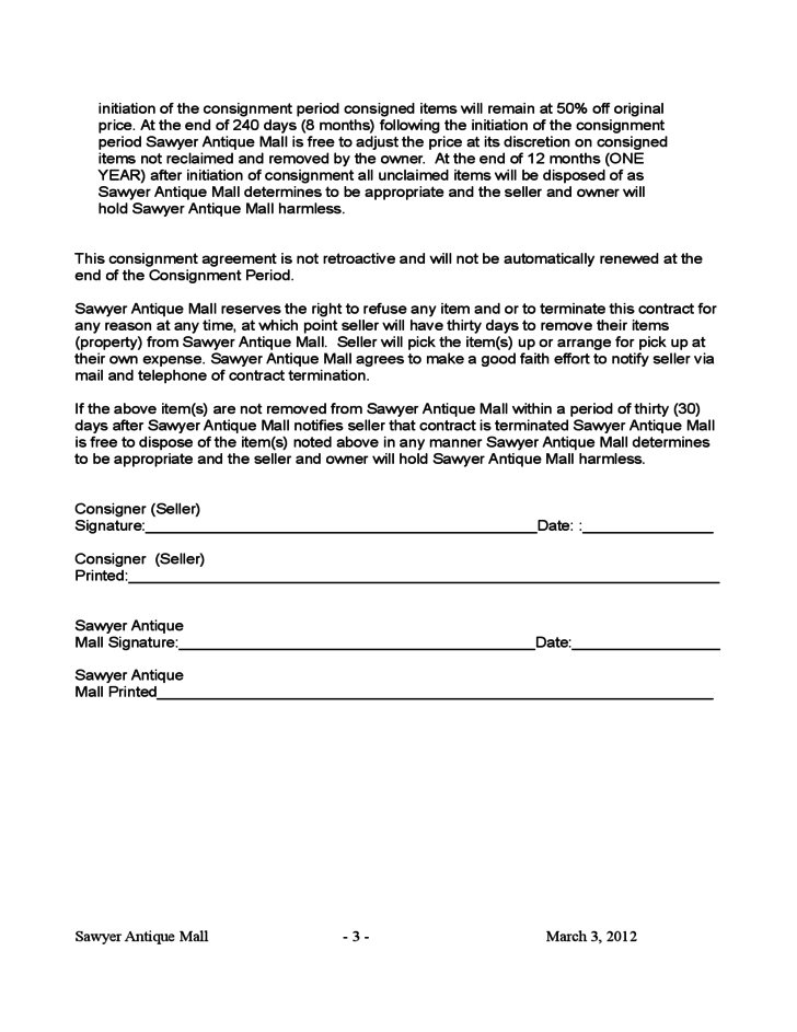 Blank consignment contract template free download for Consignment store contract template