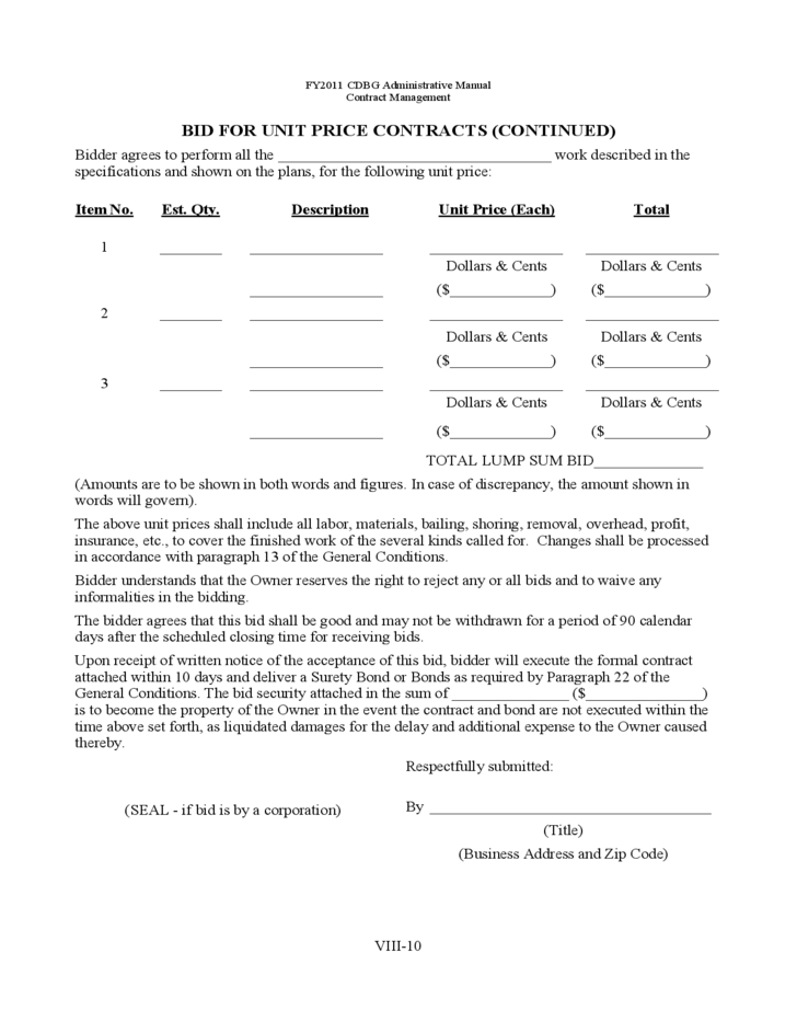 bid packet for construction contracts sample forms free download