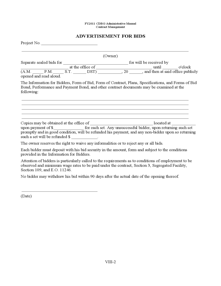 Bid Packet For Construction Contracts Sample Forms Free