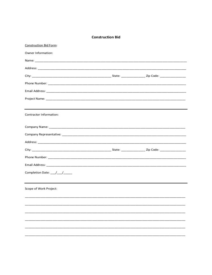 Sample Form for Construction Bid Free Download