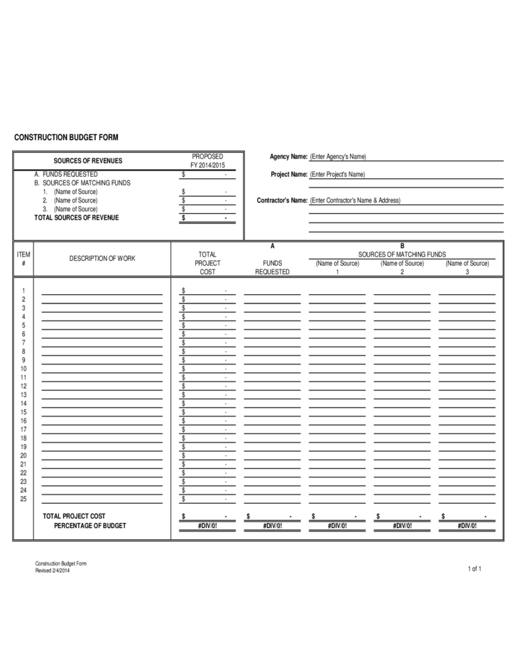Construction Budget Form - City of Tampa