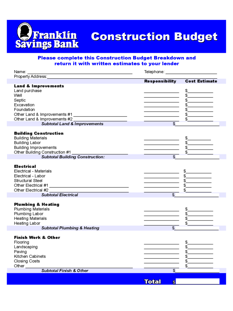 Construction forms 41 free templates in pdf word excel download construction budget franklin savings bank free download pronofoot35fo Gallery