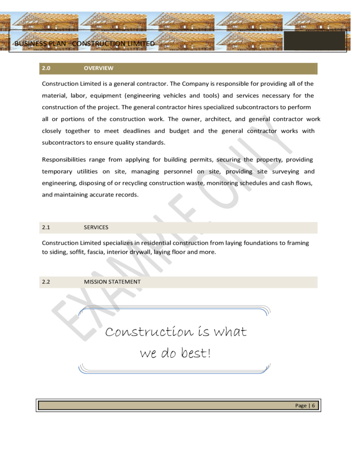 Construction Business Plan Template – 9+ Free Sample, Example, Format Download!