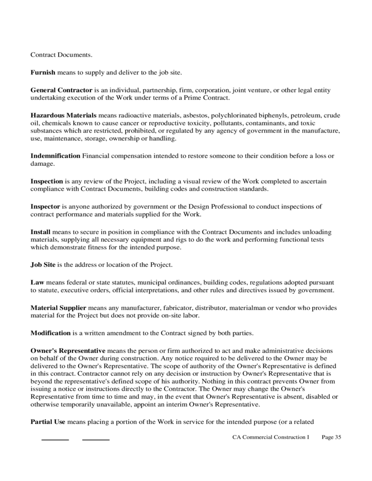 Construction Contract Form California Free Download - Standard construction contract template