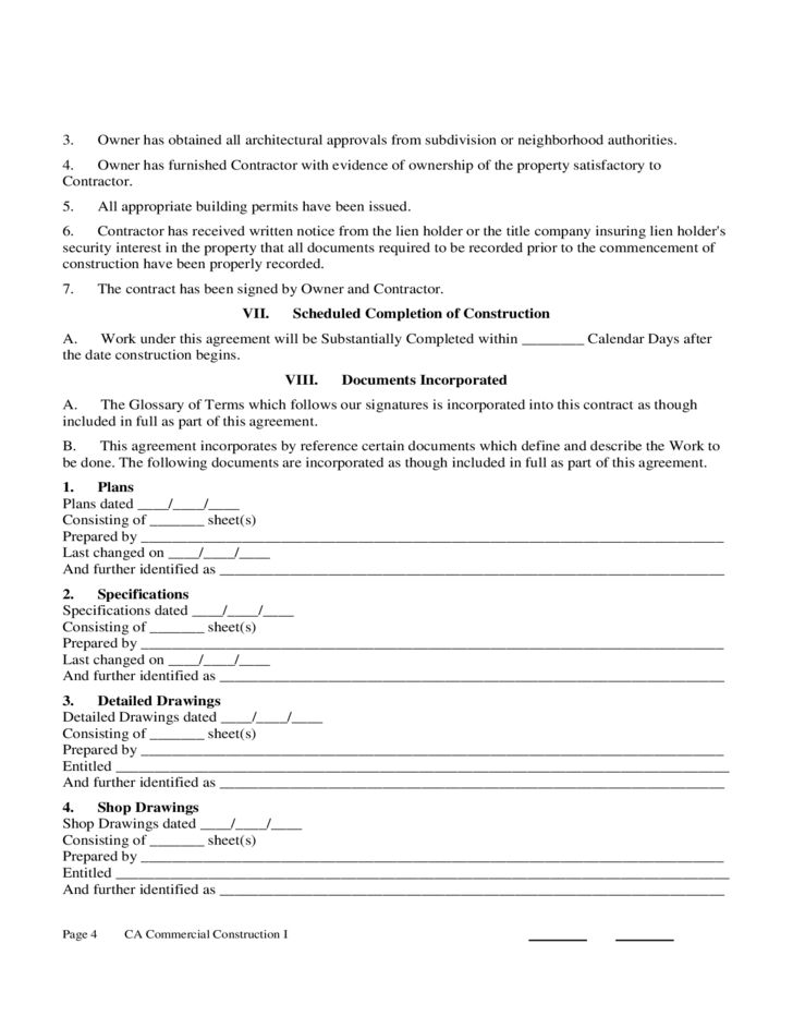construction contract form california free download