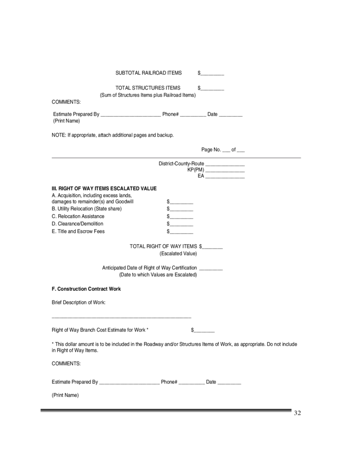 Construction Cost Estimate Template California Free Download