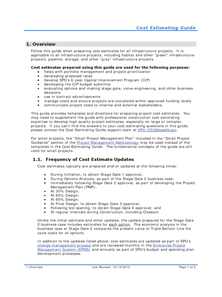 Cost Estimating Guide for Infrastructure Construction