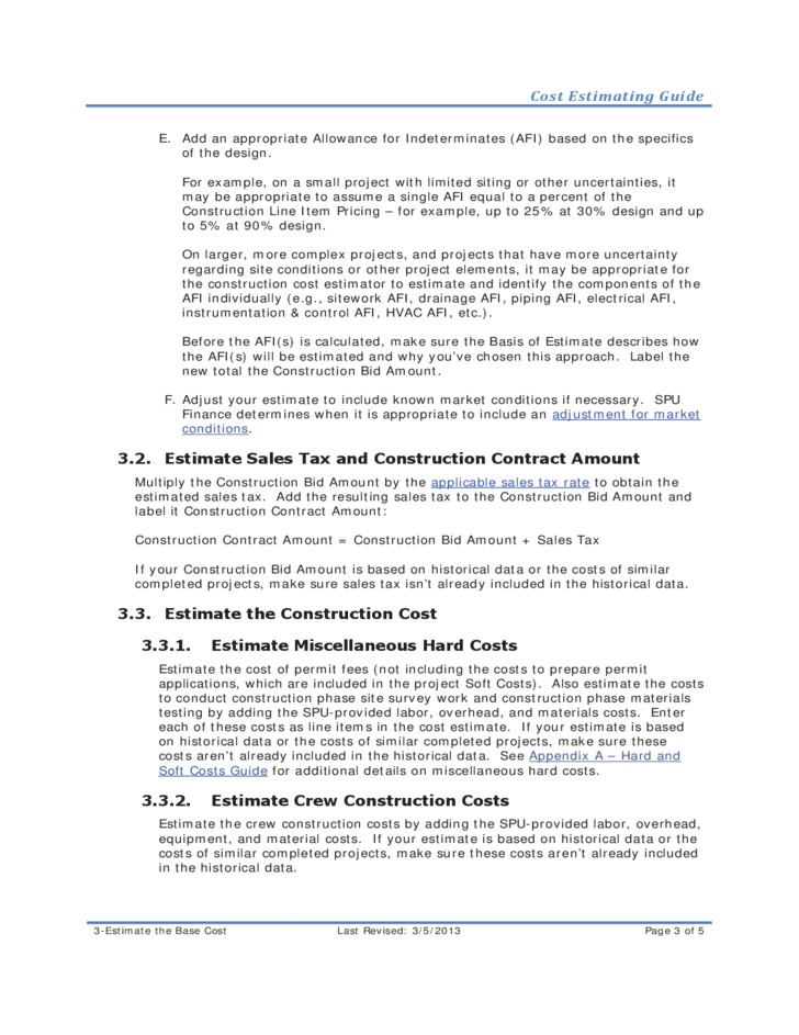 Cost Estimating Guide for Infrastructure Construction Free Download