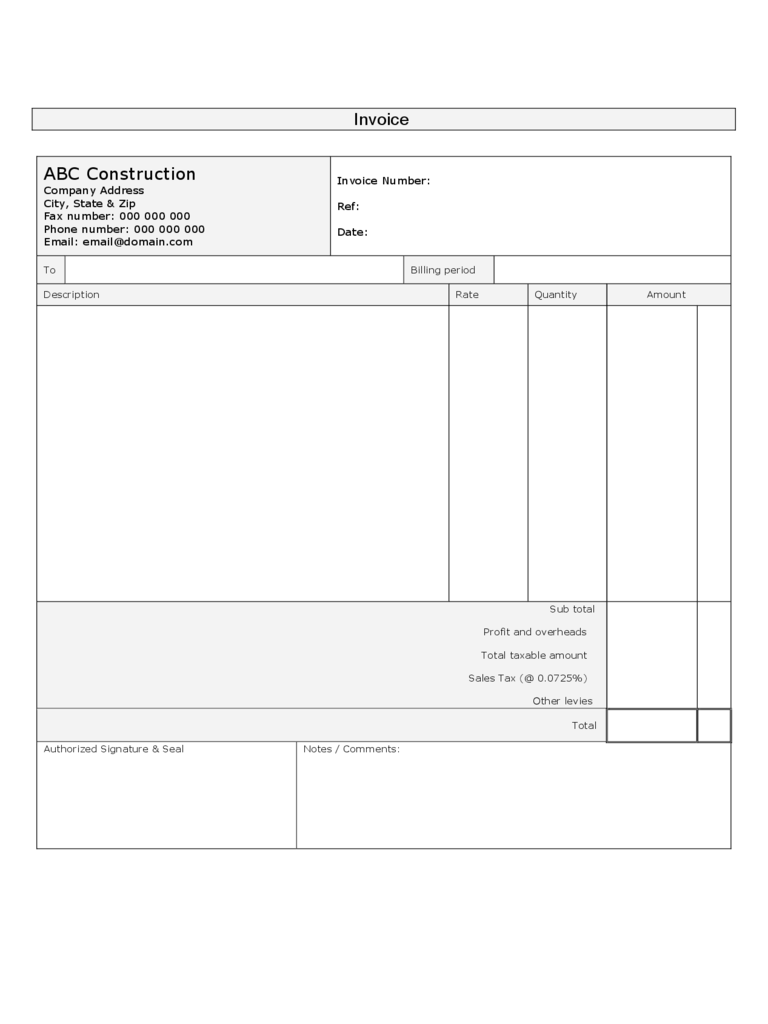 Construction Forms Free Templates In PDF Word Excel Download - Construction invoice form free for service business