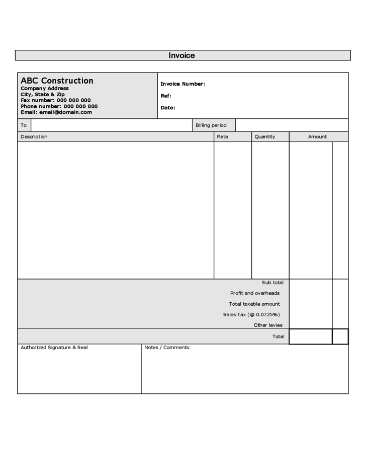 sample construction invoice free download