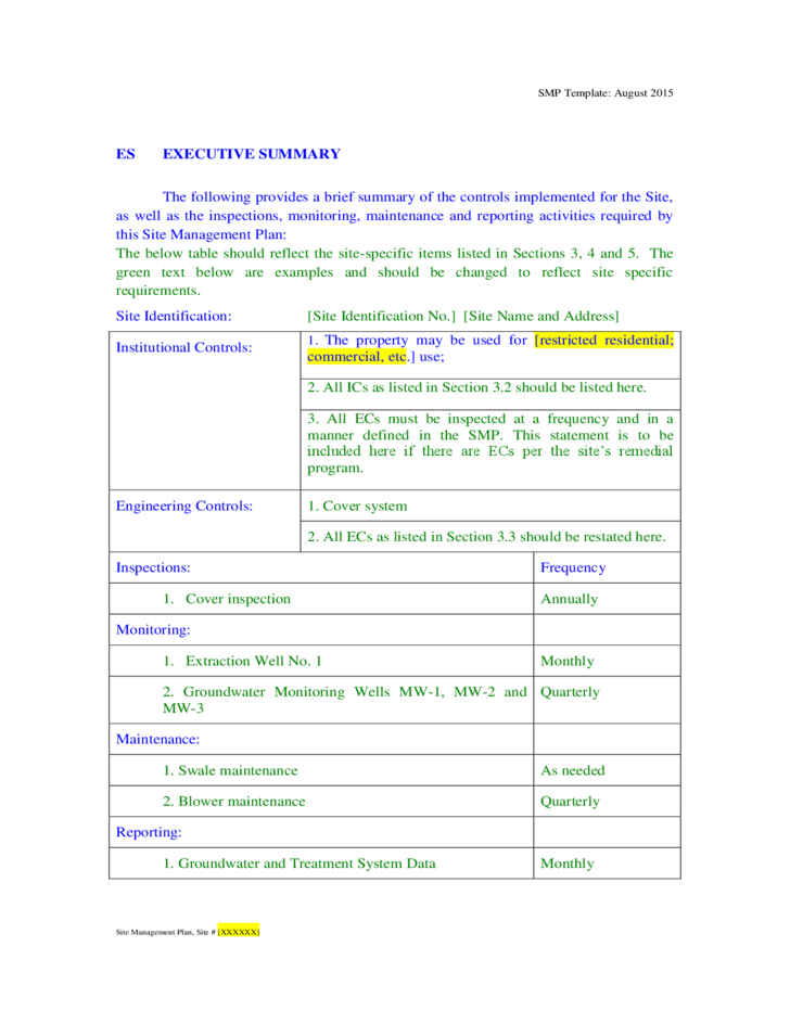 Site management plan template new york free download for Ohs management plan template