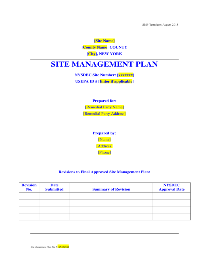 site management plan template