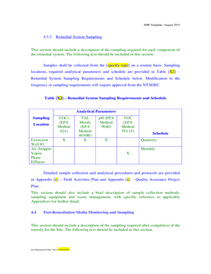Site Management Plan Template New York Free Download