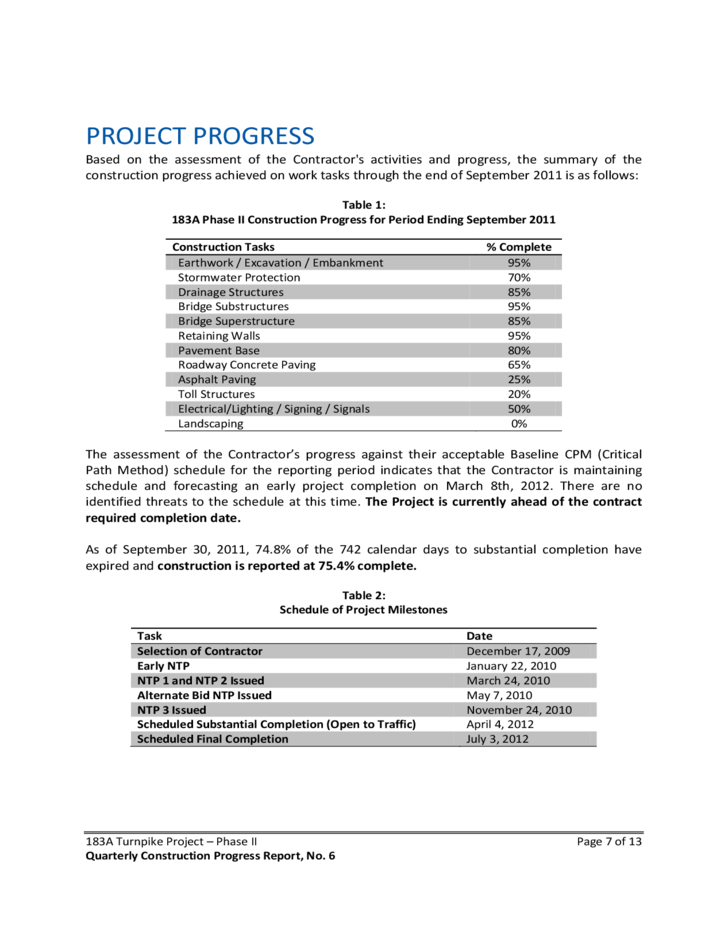 Quarterly Construction Progress Report