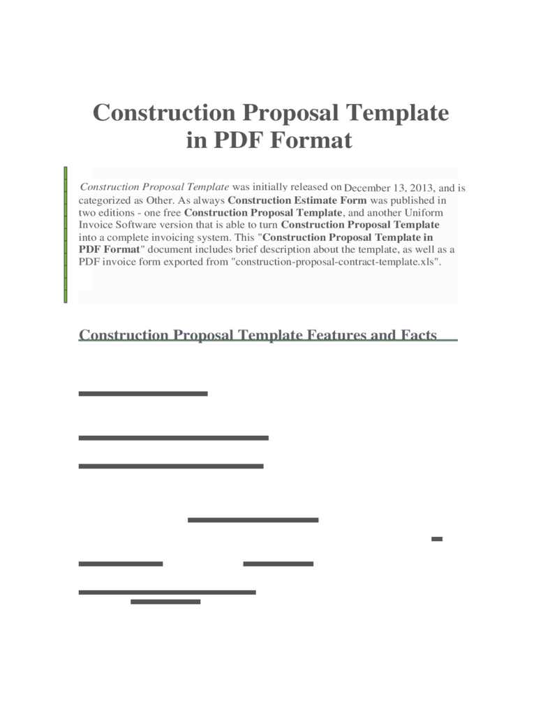 free construction proposal templates excel