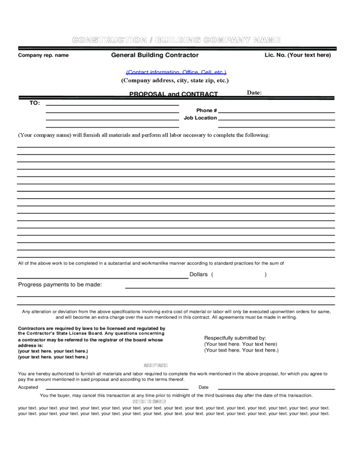 construction proposal template in pdf format free download
