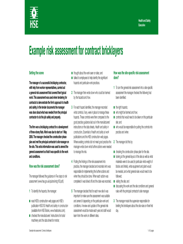 Example Risk Assessment for Contract Bricklayers - HSE for Northern Ireland