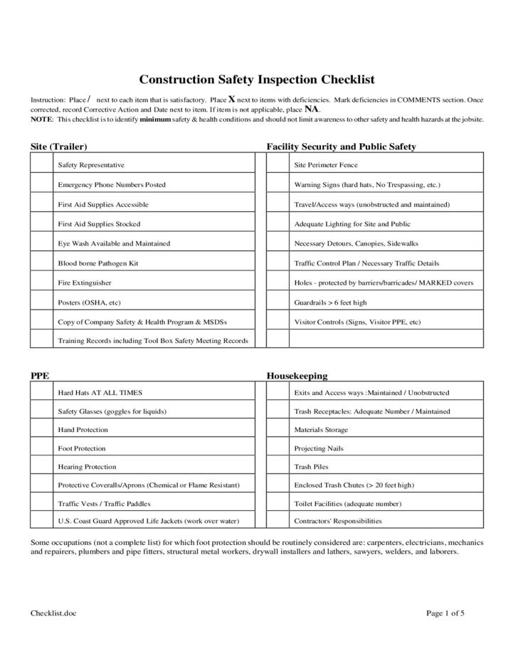 construction safety inspection checklist free download